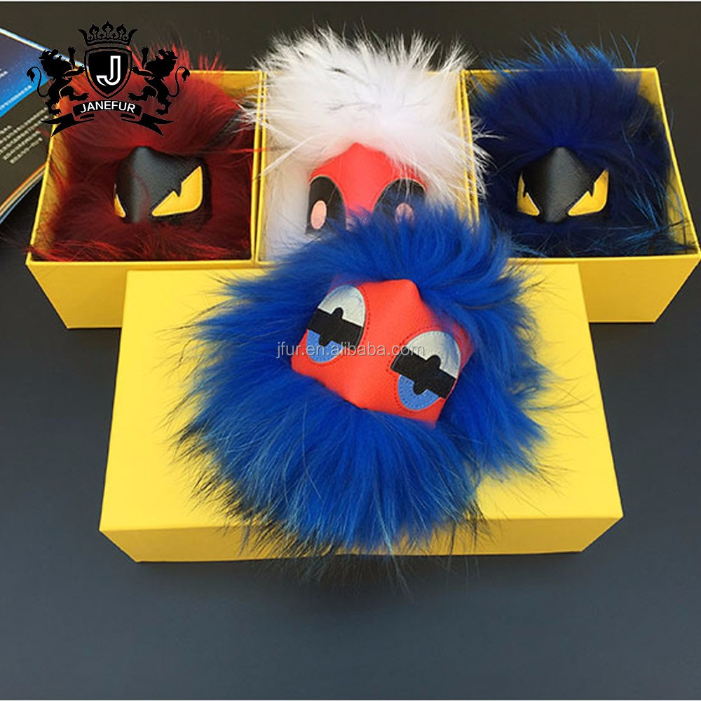 Factory price colorful pompom monster real raccoon fur keychain
