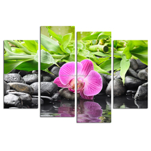 Orchid Wall Art for Wholesale/zen Stone Canvas 4 Panels Home Decoration/Bamboo in Water Picture Giclee Print
