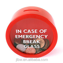 Emergency life-saving in case of emergency break glass piggy bank/colorful gift money box