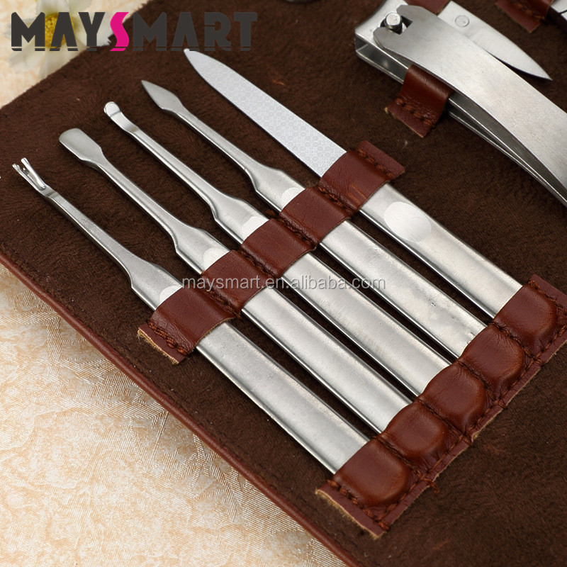 High Quality Profesional Set Profesional Manicure Toe Nail Cutting 10pcs Brown Manicure And Pedicure Kit