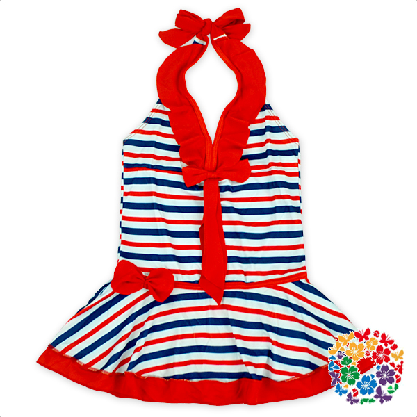 New Stripe Patterns Baby Girls Swimwear Clothes One Piece Set Knot To Neck Kids Swimsuits Models Children Swimsuit For 2-6 Years