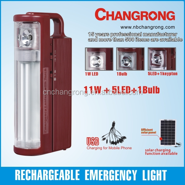 Rechargeable emergency light emergency lantern with 11W tube and search light