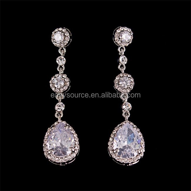 Clear Crystal Dangle Earrings Flower Design Rhinestone Long Drop Earrings Bridal Jewelry Accessory
