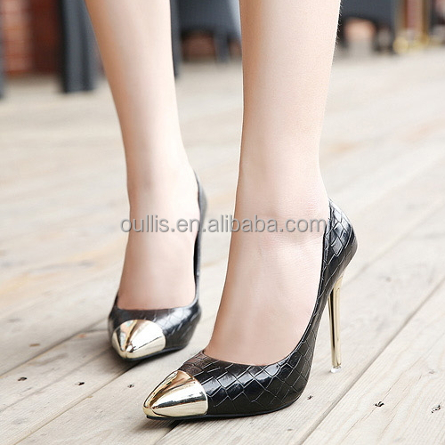 Latest new design high heel pumps with metal pointed toe Sexy stiletto high heels pumps elegant pointed toe dress shoes PQ3824