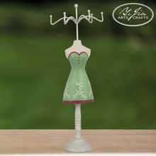 Mannequin Metal Jewelry Holder Handmade Carved Skirt Earrings Jewelry Display Holder Green