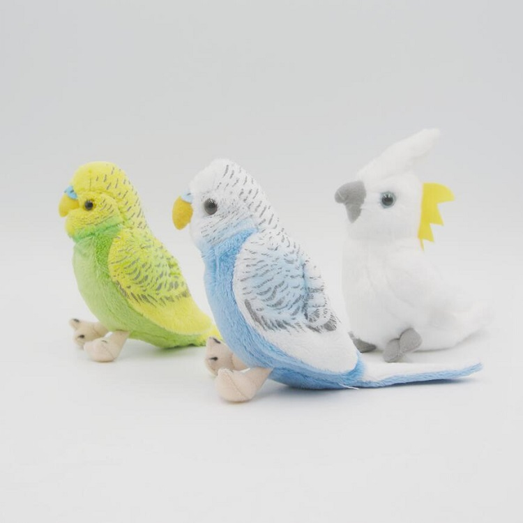 Lovely small budgies and parrot birds shape pet plush toy with bright color