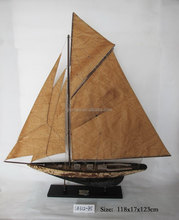 Classic antique wooden sailboat model, 118x17x123 cm, 2 mast sailing ship, replic boat/yacht/vessel, hand made nautical souvenir
