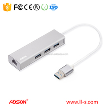 Adson USB 3.0 to 3 ports USB3.0 Hub with Gigabyte Lan Ethernet Adapter