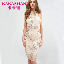 Sexy Germany Elegant Sequin See-Through Midi Prom Dress