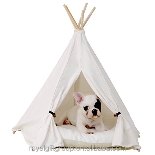 Pet Teepee Dog Pet Tent Supplies Mat Sofa Dog House 24 Inch Pure White Style without Cushion