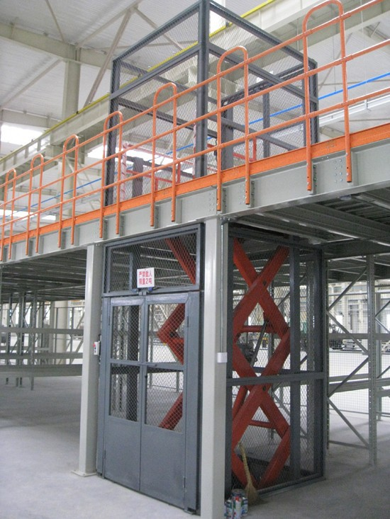 Vertical hydraulic scissor warehouse cargo lift