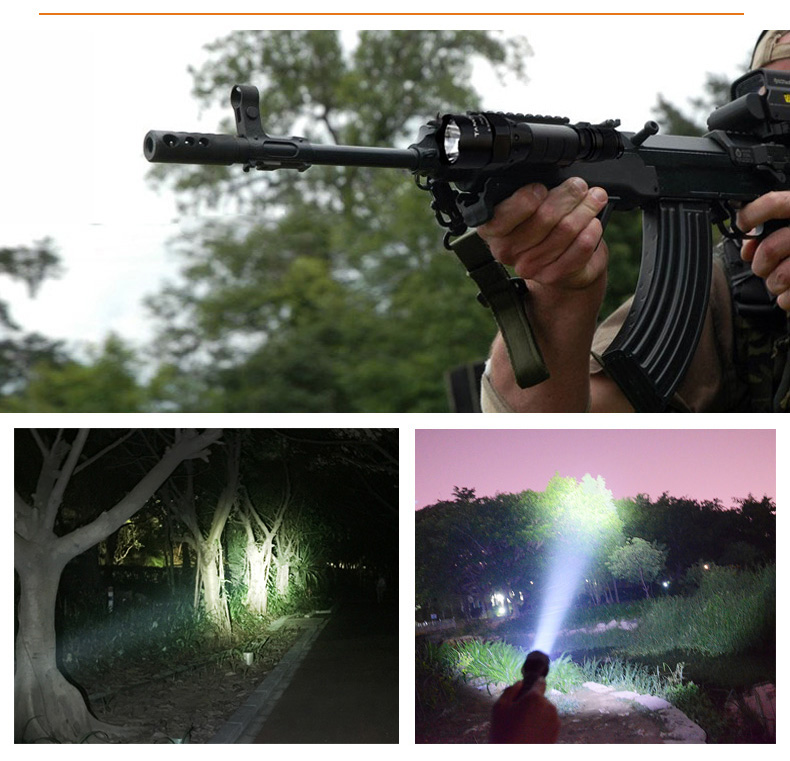 1000 lumens powerful led rechargeable torch high lumen aluminium military flashlight