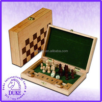 Multiple 2 in 1 chess & shut game set in wooden box with metal clasp
