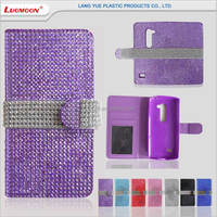 Diamante bling wallet leather android phone case for LG K4 K7 K10 g2 g3 g4 g5 accessories