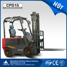 China hot sale 1500kg electric mini forklift truck can equipped many attachment