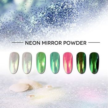 neon color gel nail polish mirror nail chrome powder
