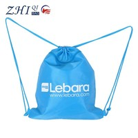 Design custom polyester waterproof promotional shopping drawstring bag