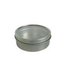 Round screw top lid tin box with see through clear PVC window