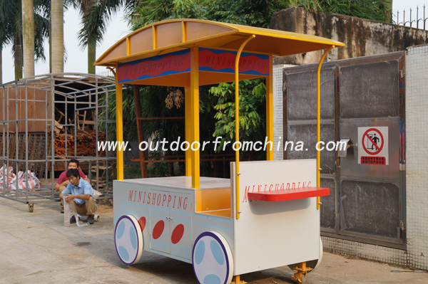 Outdoor street wooden mobile food Vending cart