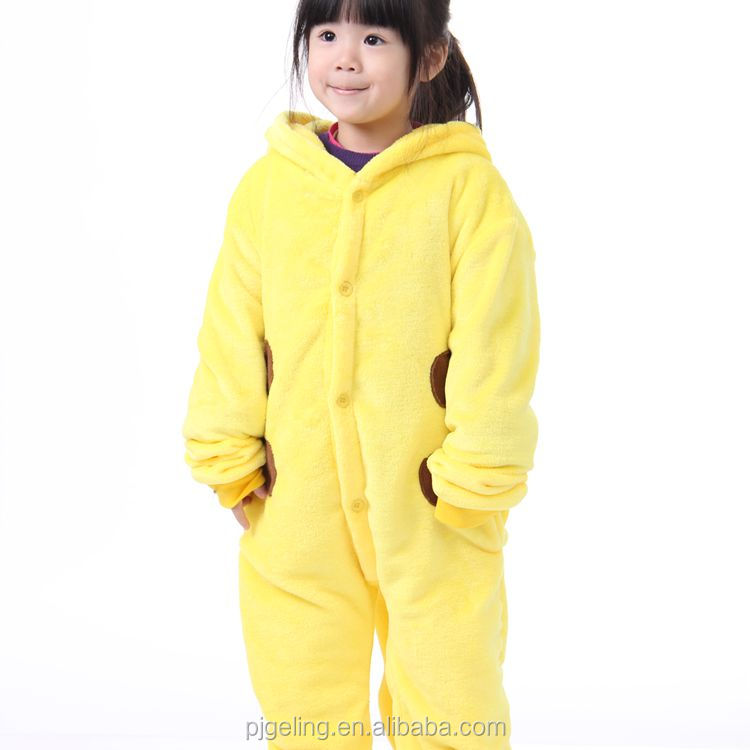 2017 new trendy products kids pikachu shape kigurumi pajamas sleepwear
