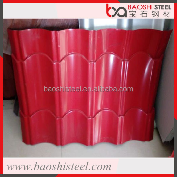 Baoshi Steel antique zinc corrugated red color metal roof tiles for sale