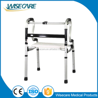 Factory Simple Folding Aluminum foldable adult walker with seat
