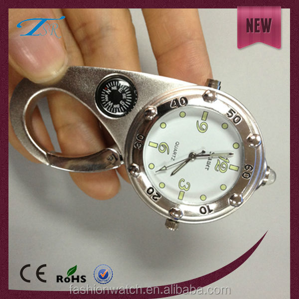 fashion cheap Alloy watch factory wholesale carabiner clip watch sport watch with compass