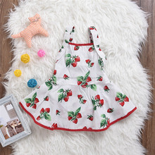 Summer Sleeveless Baby Clothes Strawberry Print Casual Little Girls Cotton Dress