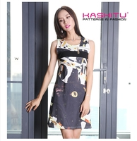 all over digital print sleeveless dress vest slender sexy cat eye new pattern 2015