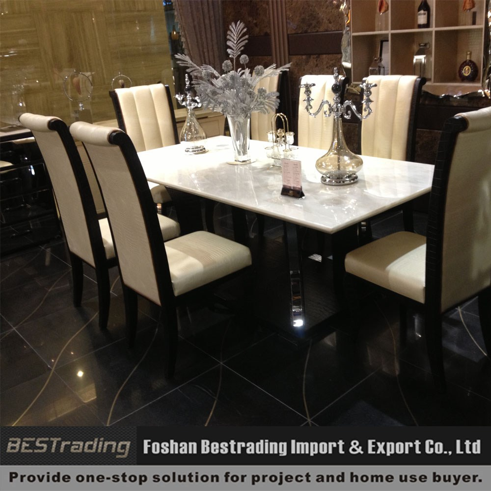 modern stainless steel base leather marble dining table