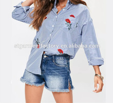 Long Sleeve Fashion Women Shirt Blue White Striped Embroidery Blouses Clothes Spring Summer Ladies Casual Loose Tops STb-0117