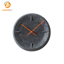 China Suppliers Custom Unique Design Round Soundproof Polyester Fiber Clock Wholesale Gray Decorative 3D Wall Clock