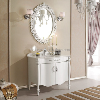 Simple design classic french style floor standing bathroom for Floor standing mirrored bathroom cabinet