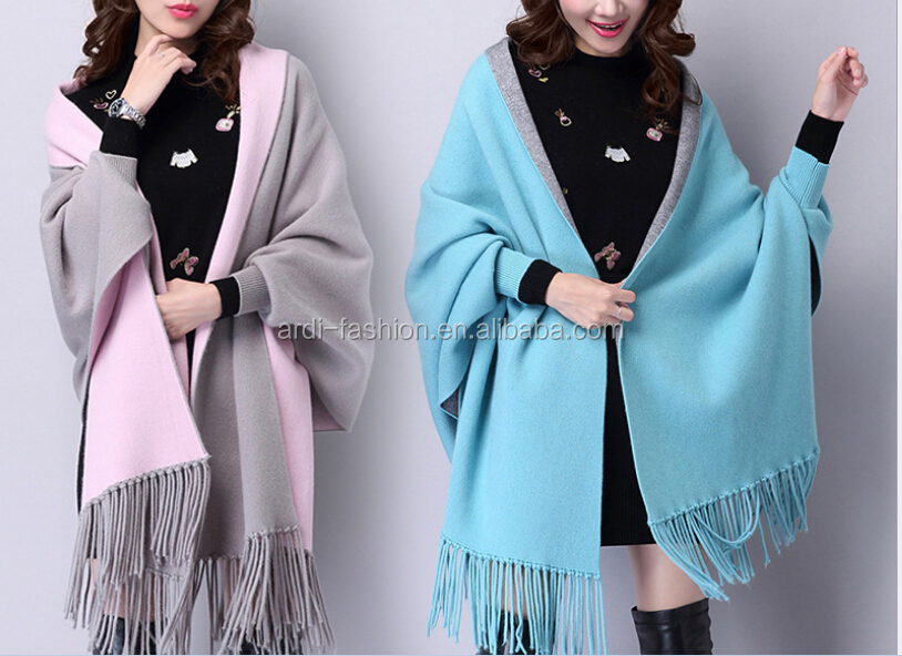 lady winter fringe wool cashmere plain knitted shawls and wraps