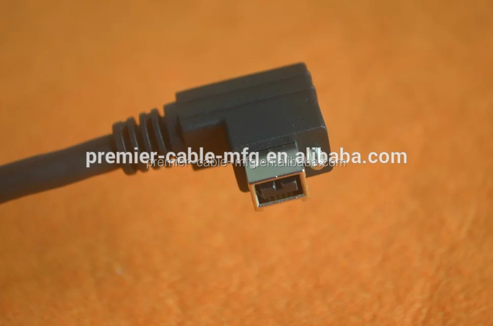 Deep Well IEEE 1394 Firewire 400 6pin 90 Degree Down Right Angled to 6pin straight Data Video Cable