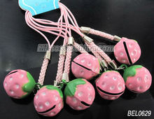 Fruit strawberry bell with mobile strap high fashion