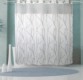 Hookless Jacquard bathroom waterproof Polyester flower leaves Shower Curtain with liner Light-Filtering Mesh for America amazon