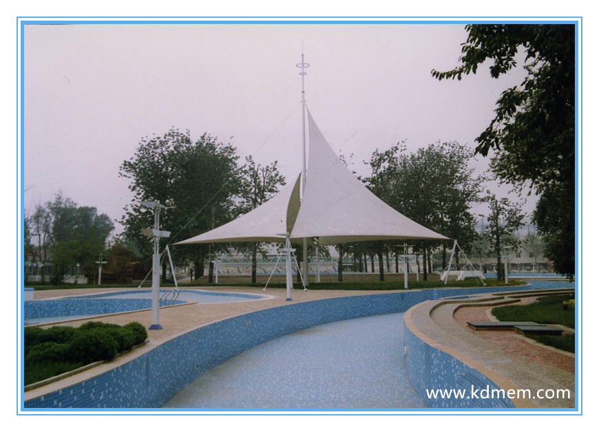 art tensile membrane and steel fabric structure for landscape