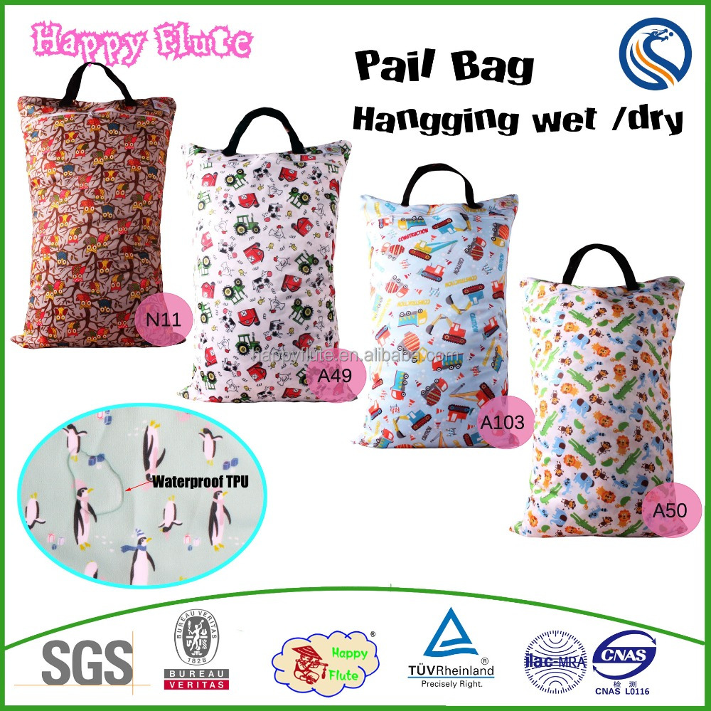 Happy flute Large Hanging Wet/Dry Pail Bag for Cloth diaper reusable waterproof wet bag