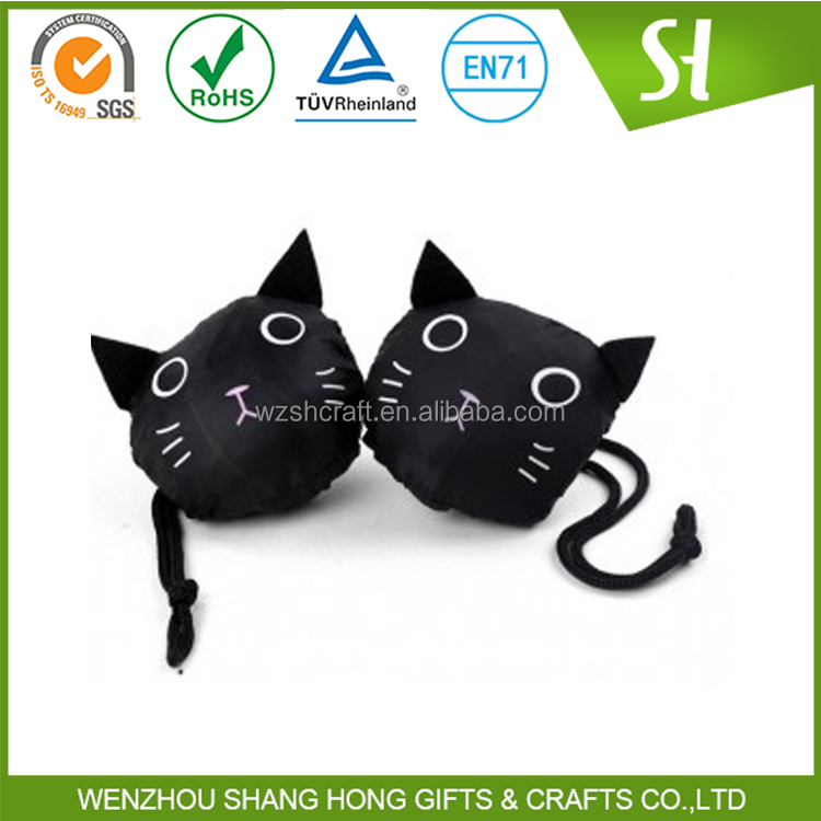 black cute cat shaped reusable shopping bags foldable/promotional drawstring bags