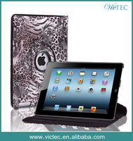 High Quality Leopard Texture Smart Luxury Rotary PU Leather Case for iPad Air