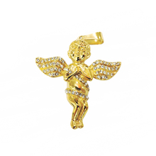 Mens Gold Finish Angel Pendant Small Hip Hop Design