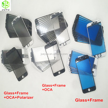 Factory sale assembly material LCD Front glass with cold press frame with OCA polarizer for iphone 6/7/8 phone LCD refurbishing