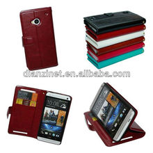 High Quality PU leather case for htc one M7 wallet & stand style Accept Paypal