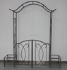 Metal Garden Arch with Gate and two Planters/Rosenbogen