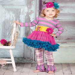 China supplier OEM child's clothes fall two pieces for girl baby outfit