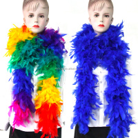 Wholesale Cheep Blue Fluffy Turkey Feather Boa for Party Decoration