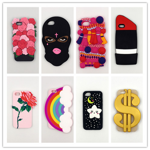 Hot 3D Cartoon Silicone Phone Cases Cover For iPhone 7 7Plus 4 4S 5 5G 5S 6 6G 6S 6Plus Back Cover