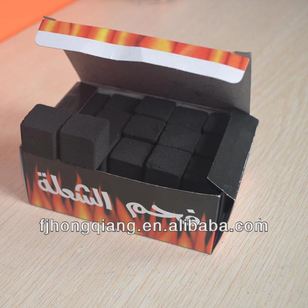 HongQiang supply 25*25*25 cube charcoal with Malaysia coconut shell charcoal powder