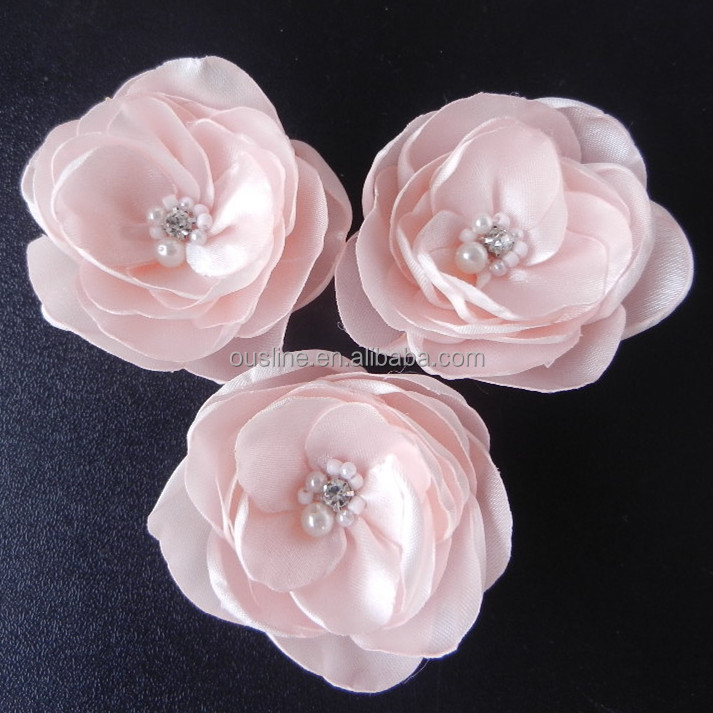 <strong>Flower</strong> peach color pearl rhinestone center poppy silk <strong>flower</strong>
